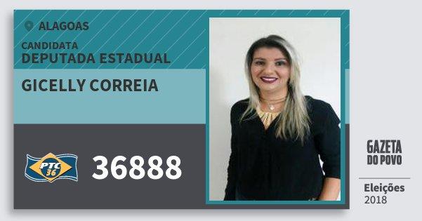 Santinho Gicelly Correia 36888 (PTC) Deputada Estadual | Alagoas | Eleições 2018