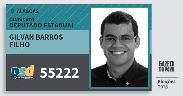 Santinho Gilvan Barros Filho 55222 (PSD) Deputado Estadual | Alagoas | Eleições 2018