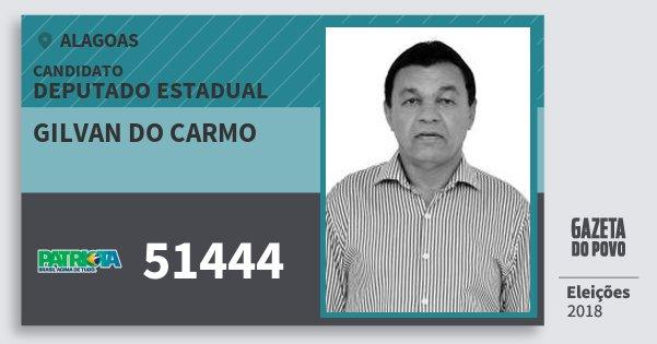 Santinho Gilvan do Carmo 51444 (PATRI) Deputado Estadual | Alagoas | Eleições 2018
