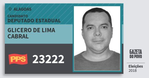 Santinho Glicero de Lima Cabral 23222 (PPS) Deputado Estadual | Alagoas | Eleições 2018