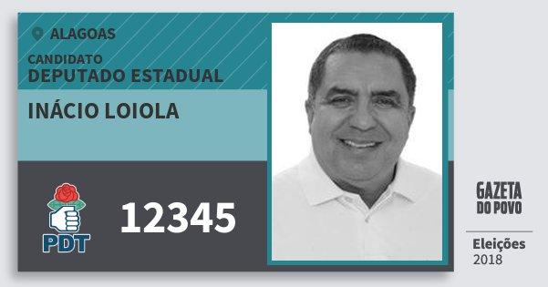 Santinho Inácio Loiola 12345 (PDT) Deputado Estadual | Alagoas | Eleições 2018
