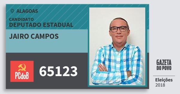Santinho Jairo Campos 65123 (PC do B) Deputado Estadual | Alagoas | Eleições 2018