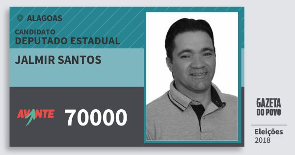 Santinho Jalmir Santos 70000 (AVANTE) Deputado Estadual   Alagoas   Eleições 2018