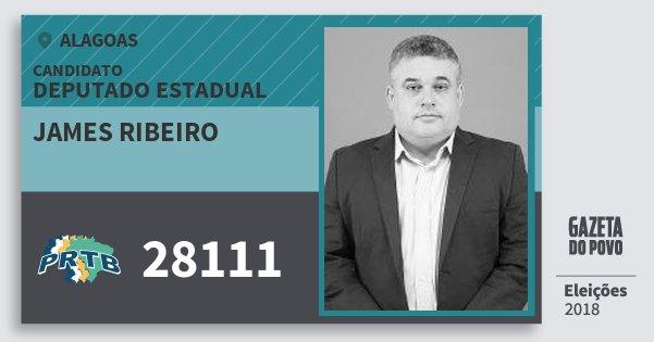 Santinho James Ribeiro 28111 (PRTB) Deputado Estadual | Alagoas | Eleições 2018