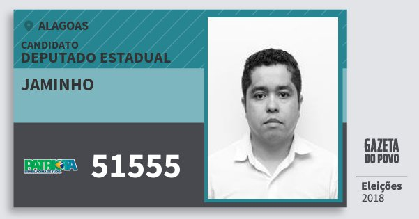 Santinho Jaminho 51555 (PATRI) Deputado Estadual | Alagoas | Eleições 2018