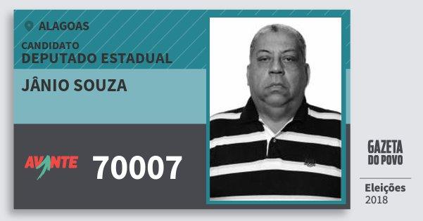 Santinho Jânio Souza 70007 (AVANTE) Deputado Estadual | Alagoas | Eleições 2018