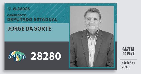Santinho Jorge da Sorte 28280 (PRTB) Deputado Estadual | Alagoas | Eleições 2018