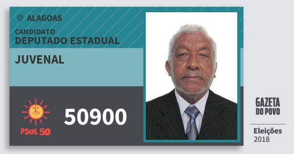 Santinho Juvenal 50900 (PSOL) Deputado Estadual | Alagoas | Eleições 2018