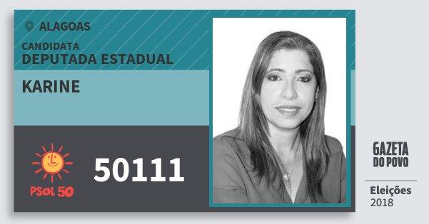 Santinho Karine 50111 (PSOL) Deputada Estadual | Alagoas | Eleições 2018