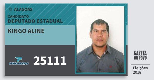 Santinho Kingo Aline 25111 (DEM) Deputado Estadual | Alagoas | Eleições 2018