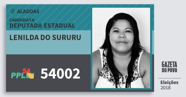 Santinho Lenilda do Sururu 54002 (PPL) Deputada Estadual | Alagoas | Eleições 2018