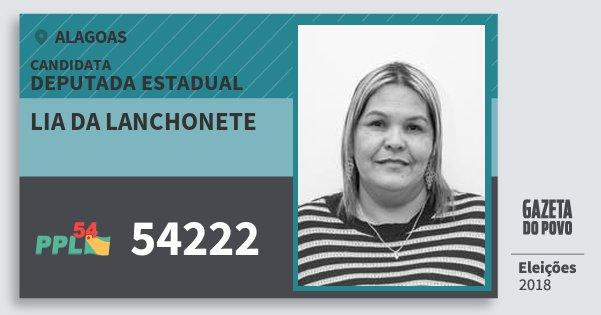 Santinho Lia da Lanchonete 54222 (PPL) Deputada Estadual | Alagoas | Eleições 2018