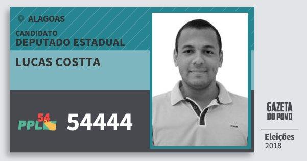 Santinho Lucas Costta 54444 (PPL) Deputado Estadual | Alagoas | Eleições 2018