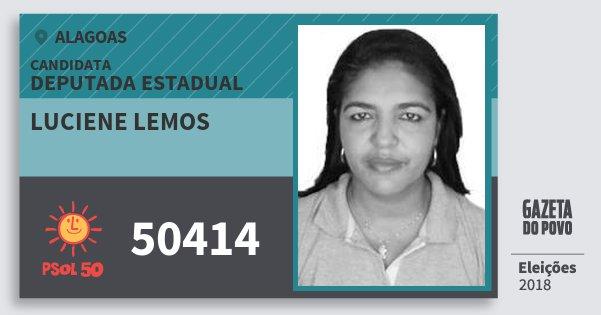 Santinho Luciene Lemos 50414 (PSOL) Deputada Estadual | Alagoas | Eleições 2018