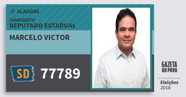 Santinho Marcelo Victor 77789 (SOLIDARIEDADE) Deputado Estadual | Alagoas | Eleições 2018