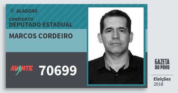 Santinho Marcos Cordeiro 70699 (AVANTE) Deputado Estadual | Alagoas | Eleições 2018