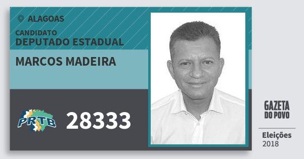 Santinho Marcos Madeira 28333 (PRTB) Deputado Estadual | Alagoas | Eleições 2018