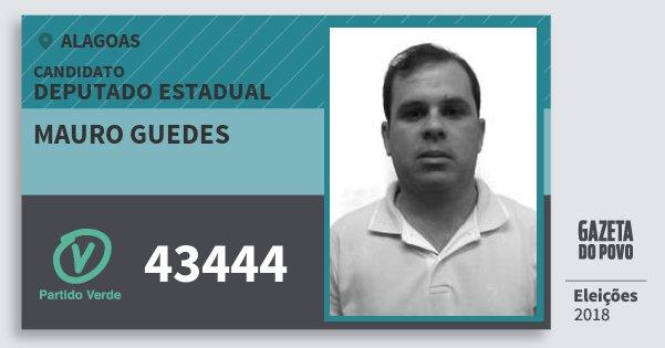 Santinho Mauro Guedes 43444 (PV) Deputado Estadual | Alagoas | Eleições 2018