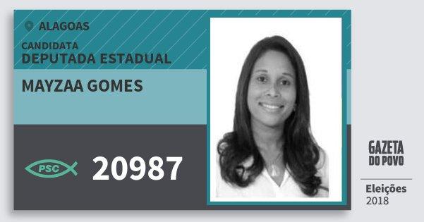 Santinho Mayzaa Gomes 20987 (PSC) Deputada Estadual | Alagoas | Eleições 2018