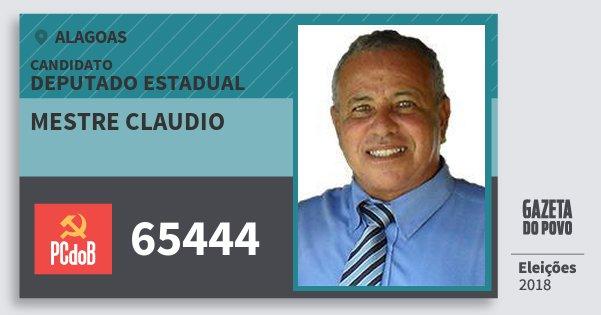 Santinho Mestre Claudio 65444 (PC do B) Deputado Estadual | Alagoas | Eleições 2018