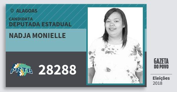 Santinho Nadja Monielle 28288 (PRTB) Deputada Estadual | Alagoas | Eleições 2018