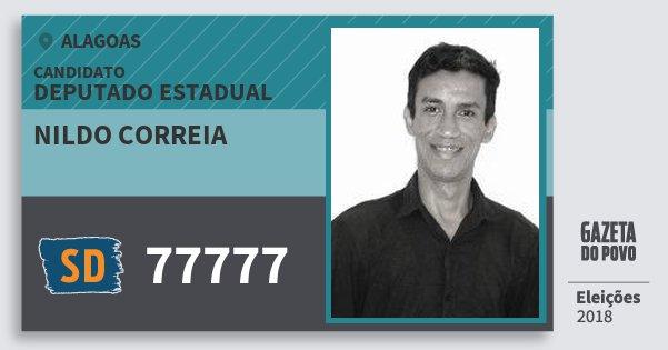 Santinho Nildo Correia 77777 (SOLIDARIEDADE) Deputado Estadual | Alagoas | Eleições 2018