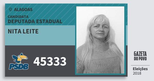 Santinho Nita Leite 45333 (PSDB) Deputada Estadual | Alagoas | Eleições 2018