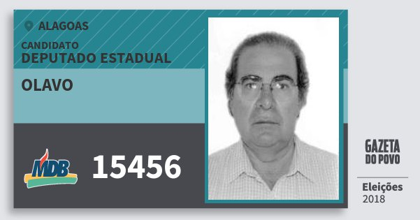 Santinho Olavo 15456 (MDB) Deputado Estadual   Alagoas   Eleições 2018
