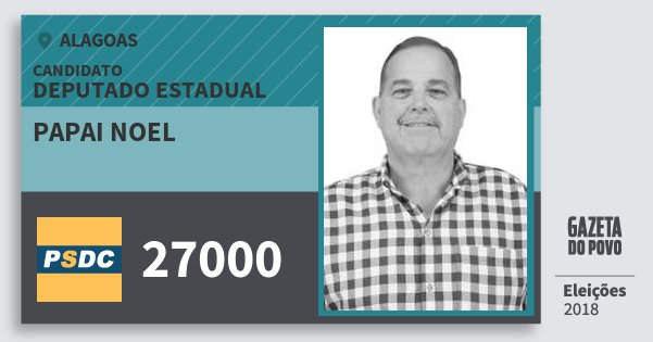 Santinho Papai Noel 27000 (DC) Deputado Estadual | Alagoas | Eleições 2018