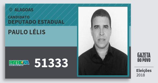 Santinho Paulo Lélis 51333 (PATRI) Deputado Estadual | Alagoas | Eleições 2018