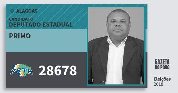 Santinho Primo 28678 (PRTB) Deputado Estadual | Alagoas | Eleições 2018