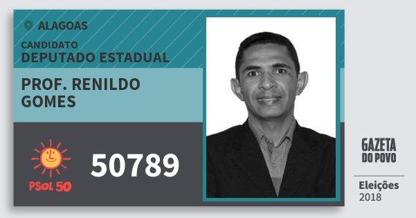 Santinho Prof. Renildo Gomes 50789 (PSOL) Deputado Estadual | Alagoas | Eleições 2018
