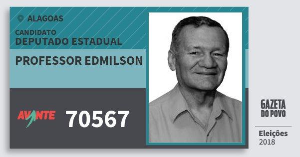 Santinho Professor Edmilson 70567 (AVANTE) Deputado Estadual | Alagoas | Eleições 2018