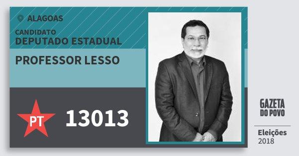 Santinho Professor Lesso 13013 (PT) Deputado Estadual | Alagoas | Eleições 2018