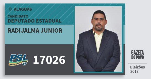 Santinho Radijalma Junior 17026 (PSL) Deputado Estadual | Alagoas | Eleições 2018