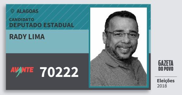 Santinho Rady Lima 70222 (AVANTE) Deputado Estadual | Alagoas | Eleições 2018