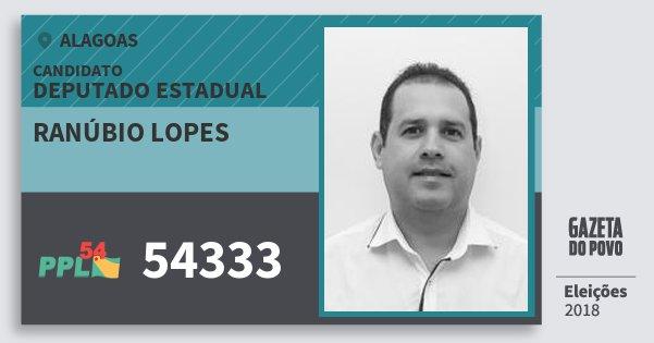 Santinho Ranúbio Lopes 54333 (PPL) Deputado Estadual | Alagoas | Eleições 2018