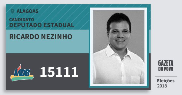 Santinho Ricardo Nezinho 15111 (MDB) Deputado Estadual   Alagoas   Eleições 2018