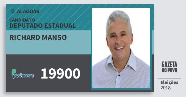 Santinho Richard Manso 19900 (PODE) Deputado Estadual | Alagoas | Eleições 2018