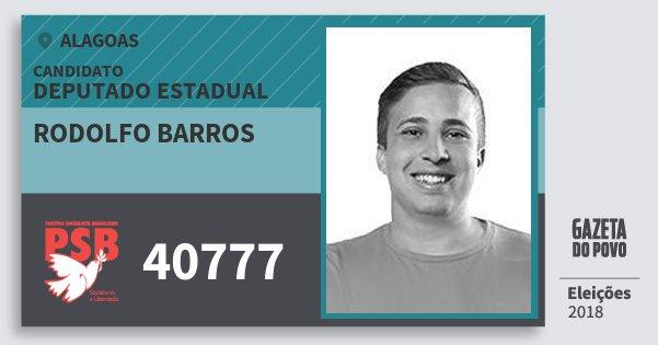 Santinho Rodolfo Barros 40777 (PSB) Deputado Estadual | Alagoas | Eleições 2018