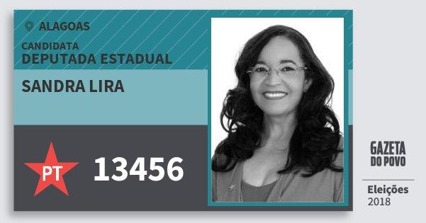 Santinho Sandra Lira 13456 (PT) Deputada Estadual | Alagoas | Eleições 2018