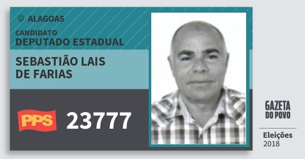 Santinho Sebastião Lais de Farias 23777 (PPS) Deputado Estadual | Alagoas | Eleições 2018