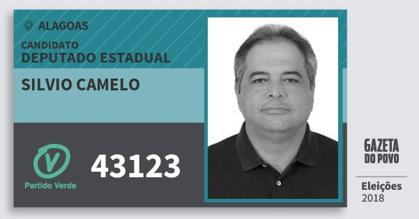 Santinho Silvio Camelo 43123 (PV) Deputado Estadual | Alagoas | Eleições 2018