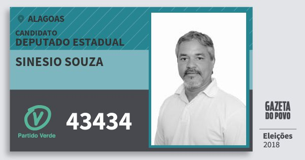Santinho Sinesio Souza 43434 (PV) Deputado Estadual | Alagoas | Eleições 2018