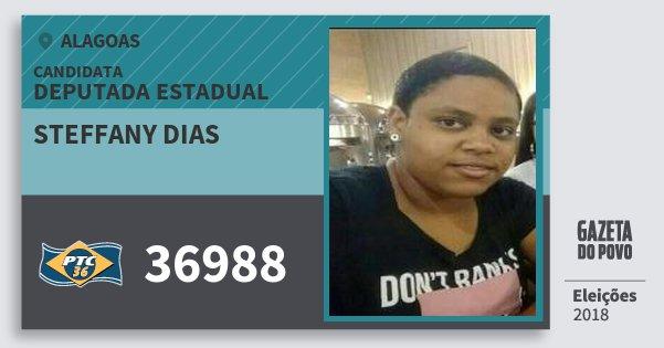 Santinho Steffany Dias 36988 (PTC) Deputada Estadual | Alagoas | Eleições 2018