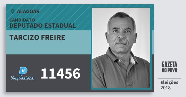 Santinho Tarcizo Freire 11456 (PP) Deputado Estadual | Alagoas | Eleições 2018