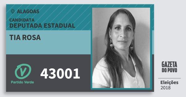 Santinho Tia Rosa 43001 (PV) Deputada Estadual | Alagoas | Eleições 2018