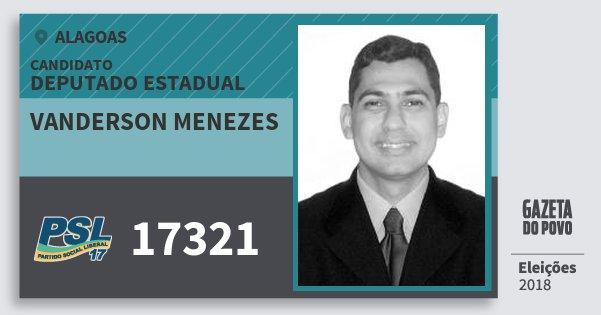 Santinho Vanderson Menezes 17321 (PSL) Deputado Estadual | Alagoas | Eleições 2018