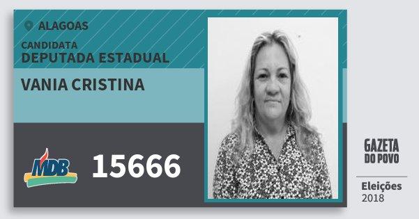 Santinho Vania Cristina 15666 (MDB) Deputada Estadual | Alagoas | Eleições 2018