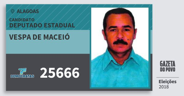 Santinho Vespa de Maceió 25666 (DEM) Deputado Estadual | Alagoas | Eleições 2018